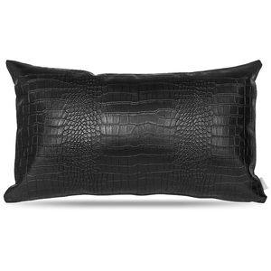Black Faux Leather Pillow Cover: 12x20 Crocodile